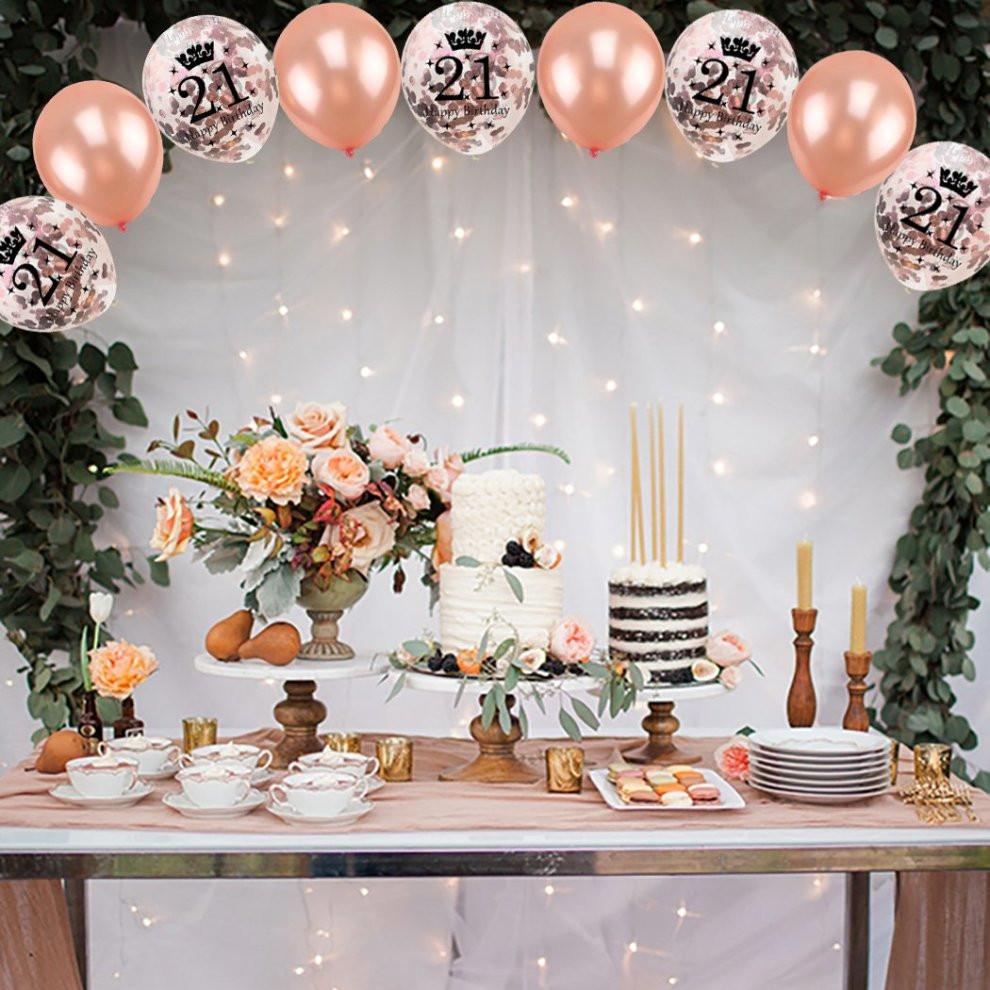 21st Birthday Decorations  16 Pcs 21st Birthday Party Rose Gold Balloon Confetti