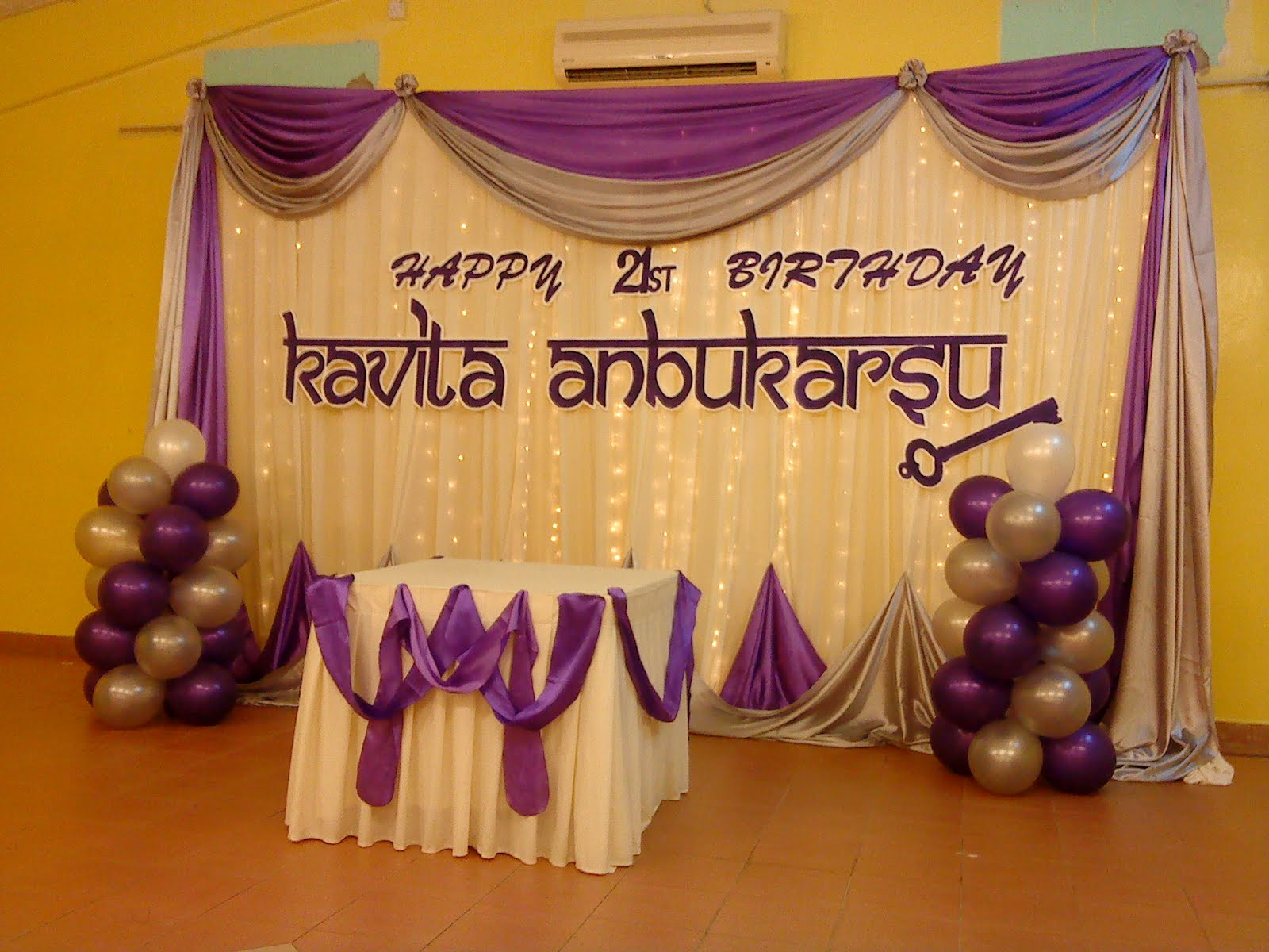 21st Birthday Decorations  Raags Management Services 21st Birthday Deco purple & white