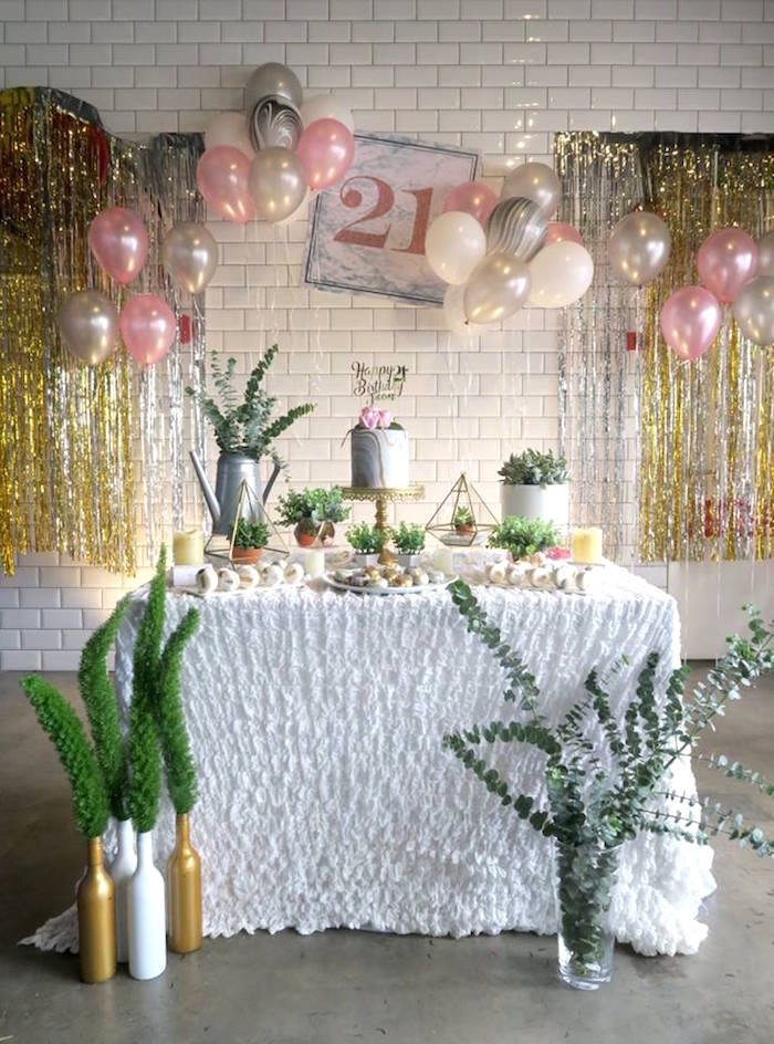 21st Birthday Decorations  Kara s Party Ideas Elegant Marble Inspired 21st Birthday