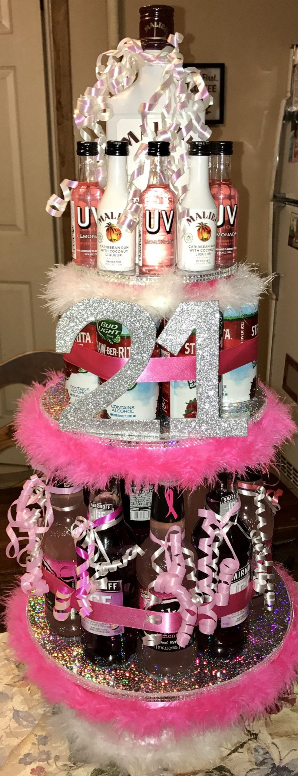 21St Birthday Gift Ideas For Girlfriend  Best friend s 21st birthday alcohol tower Everything was