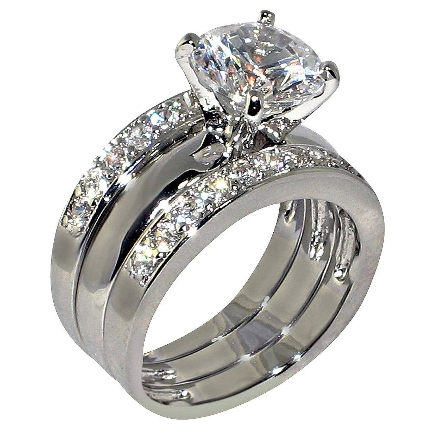3 Piece Wedding Ring Set  15 Ideas of Novelty Engagement Rings