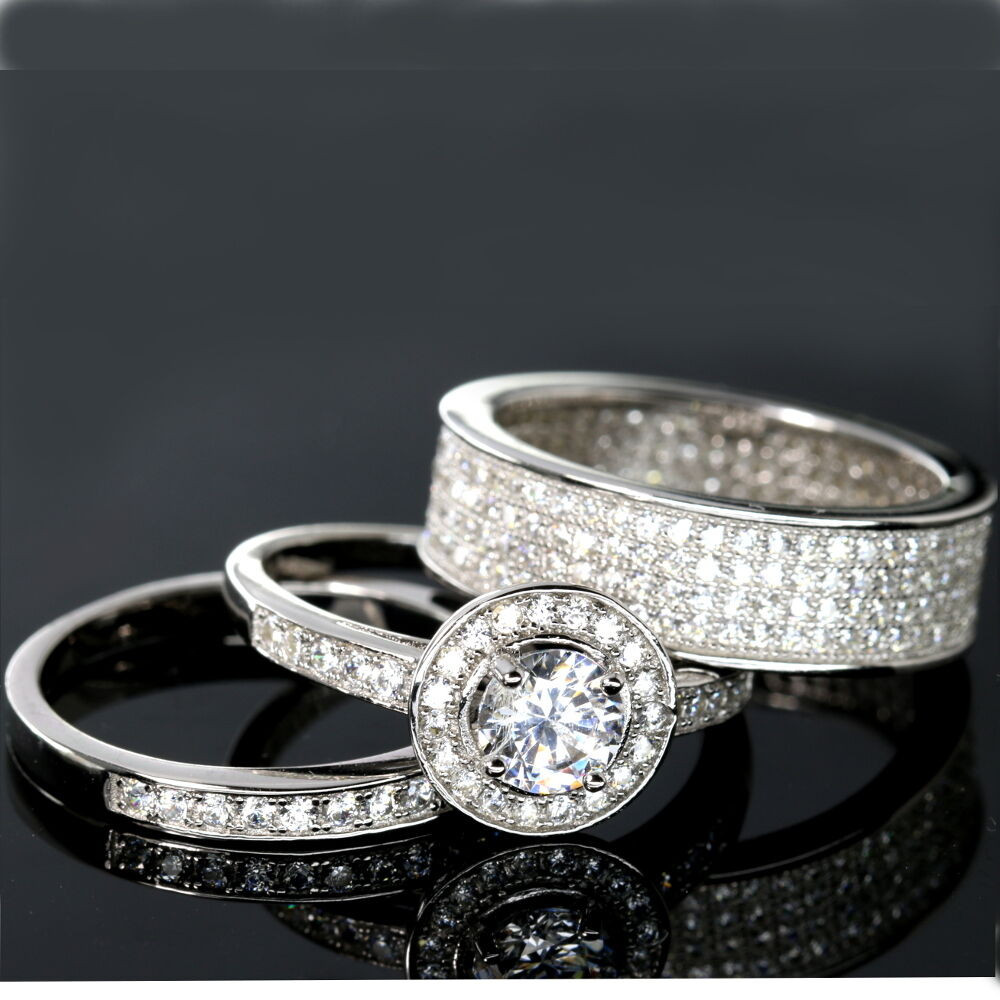 3 Piece Wedding Ring Set  WEDDING RINGS 3 piece Halo Engagement Bridal CZ 925