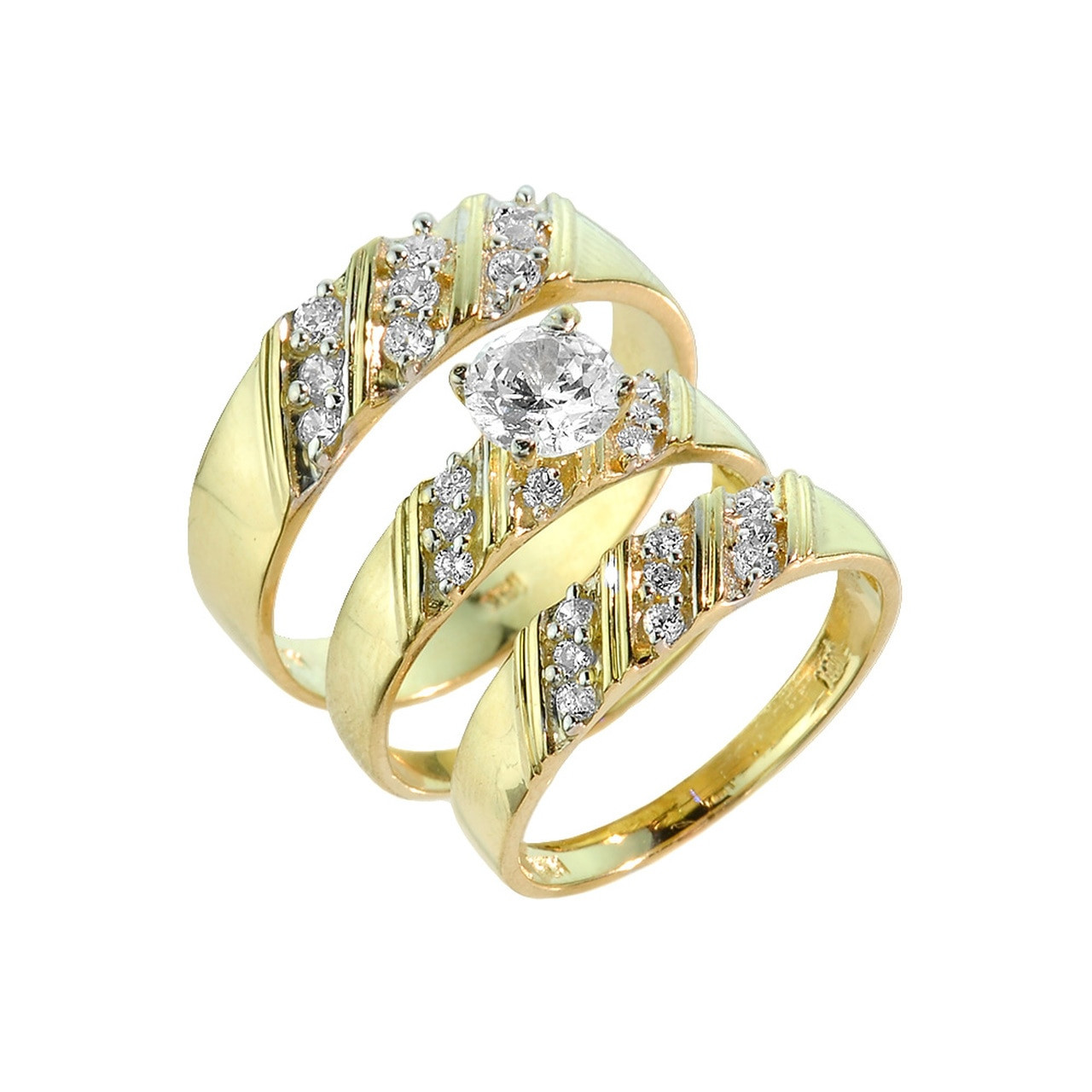 3 Piece Wedding Ring Set  Gold CZ 3 Piece Wedding Ring Set