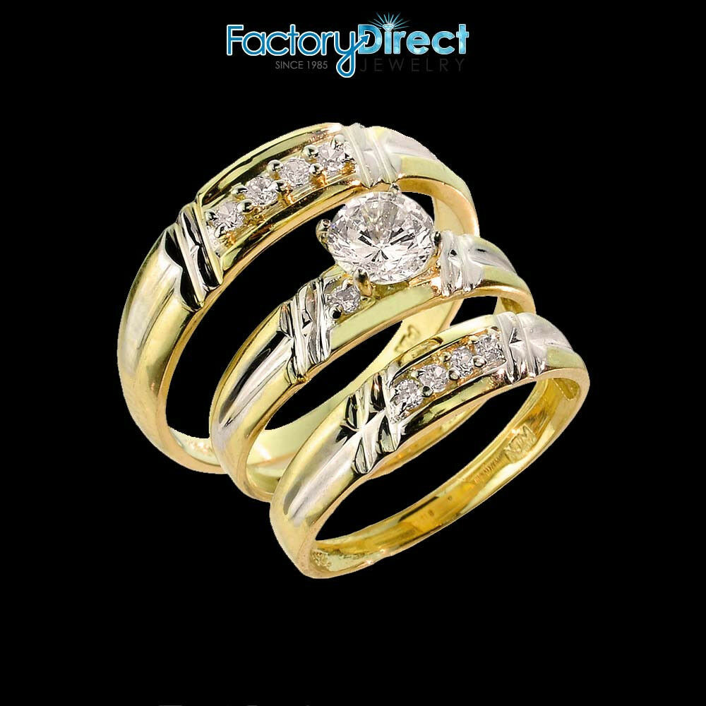 3 Piece Wedding Ring Set  10k Gold CZ 3 Piece Wedding Ring Set For Men s & Women s