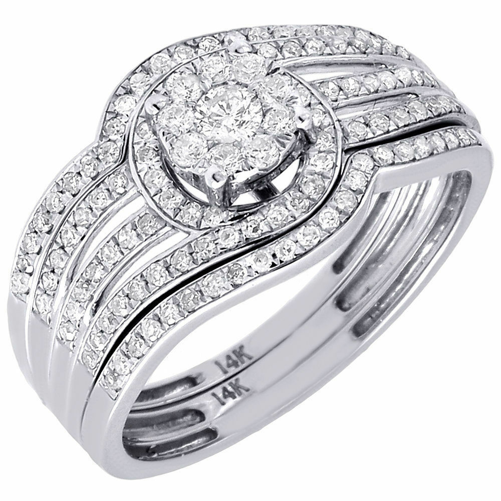 3 Piece Wedding Ring Set  Diamond Wedding Bridal 3 Piece Set 14K White Gold Round