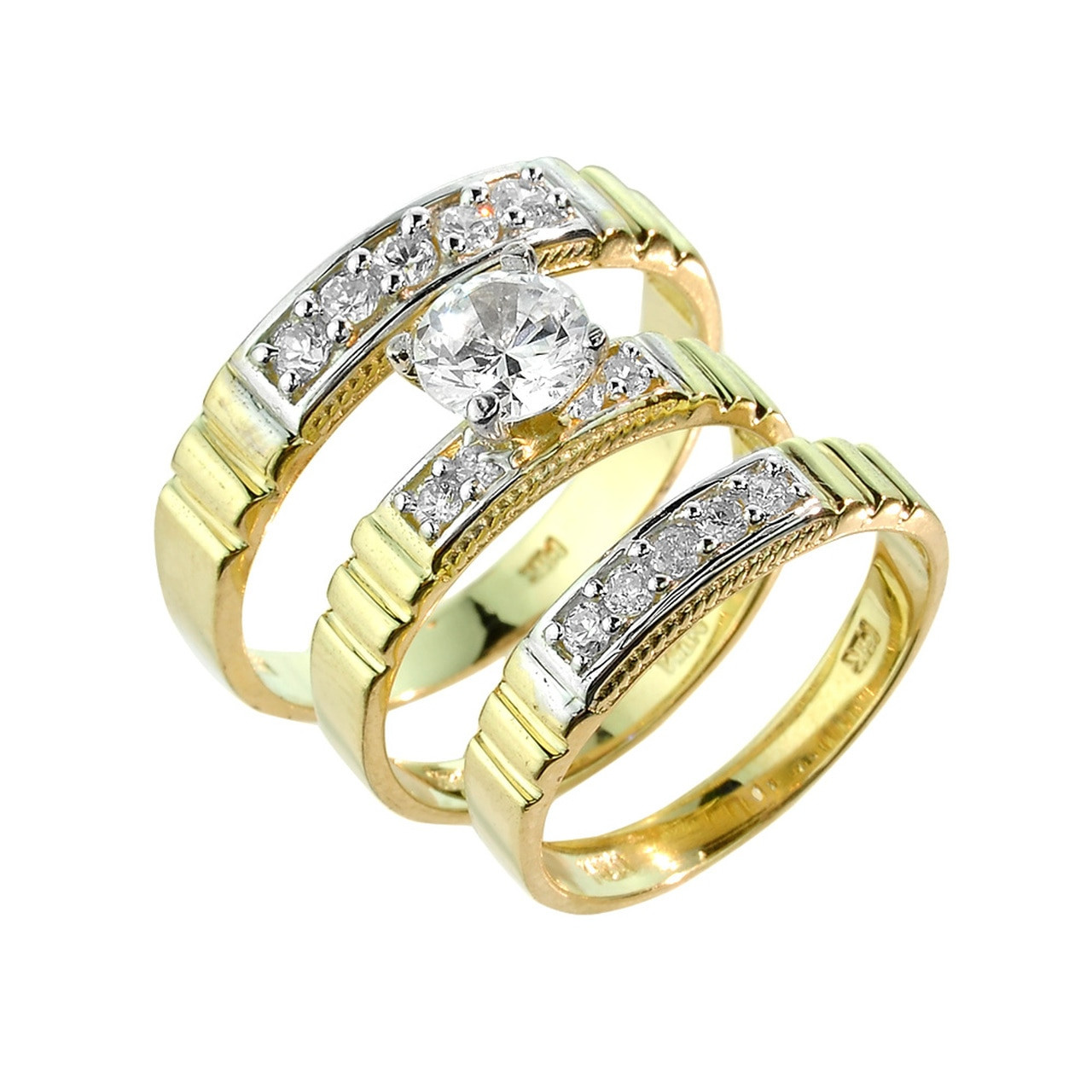 3 Piece Wedding Ring Set  Gold CZ Wedding Ring Set 3 Piece