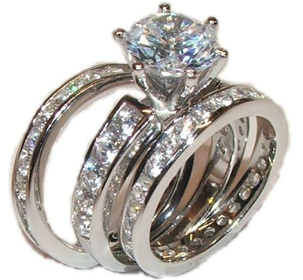 3 Piece Wedding Ring Set  3 Piece Wedding Engagement Wedding Ring Set Solid 925