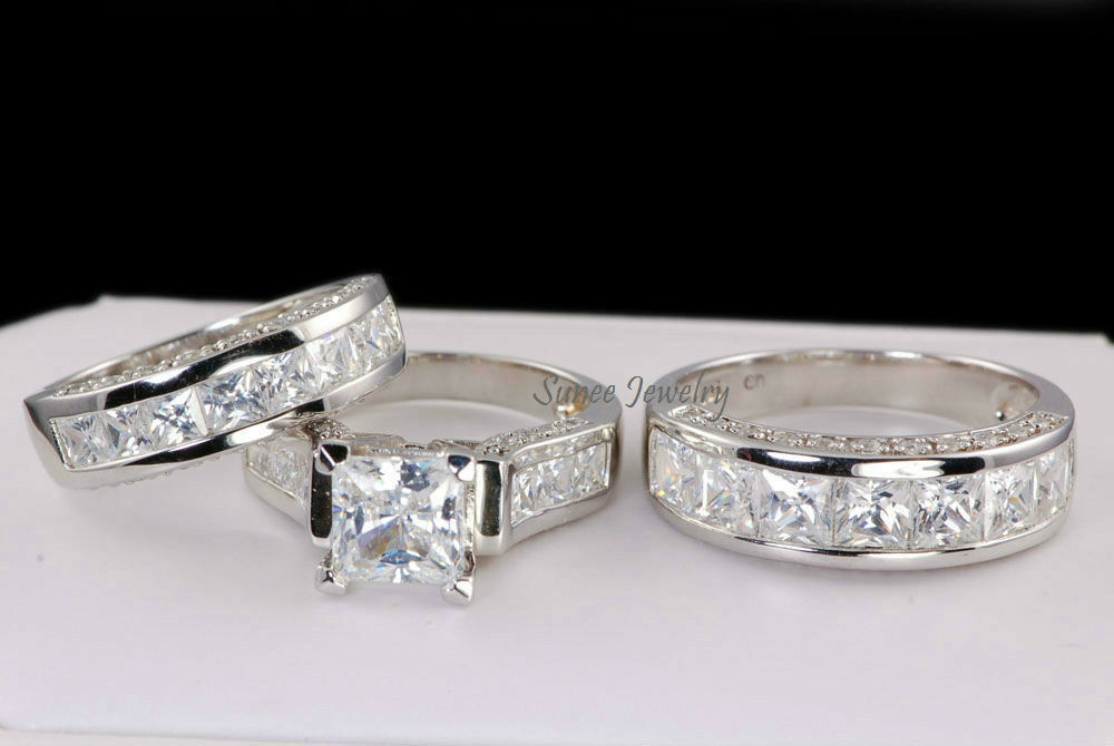 3 Piece Wedding Ring Set  His & Hers CZ 3 Piece Sterling Silver CZ Wedding