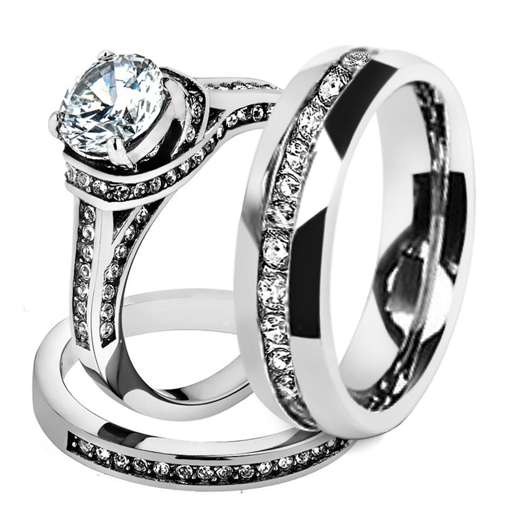 3 Piece Wedding Ring Set  His & Hers Stainless Steel 3 Piece Cz Wedding Ring Set and