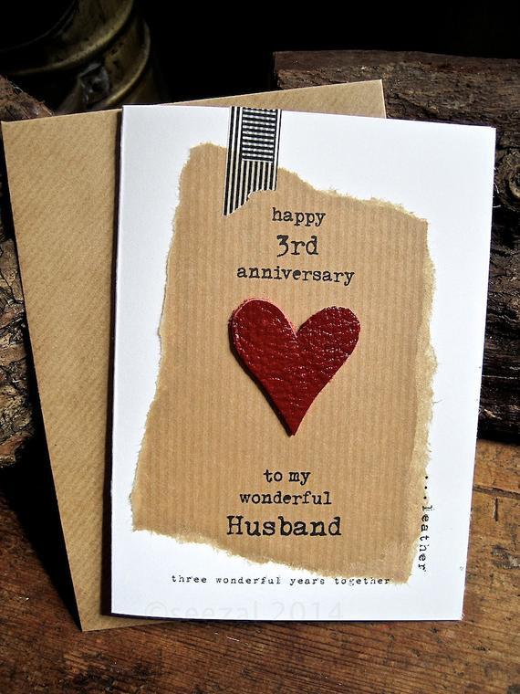 3 Year Anniversary Gift Ideas For Husband  3rd Wedding Anniversary Three Wonderful Years LEATHER Husband