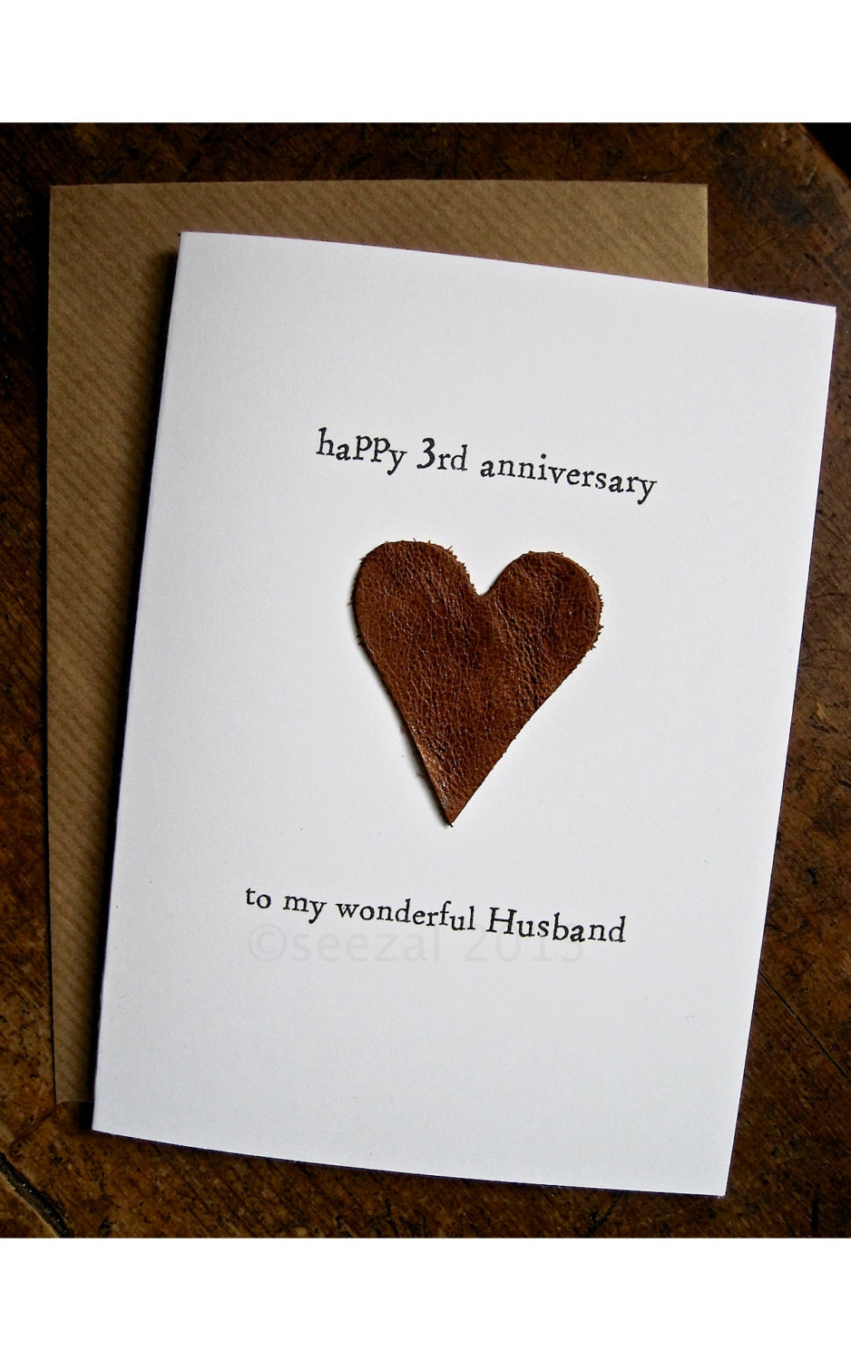 3 Year Anniversary Gift Ideas For Husband  3rd Wedding Anniversary Card HUSBAND Traditional t LEATHER