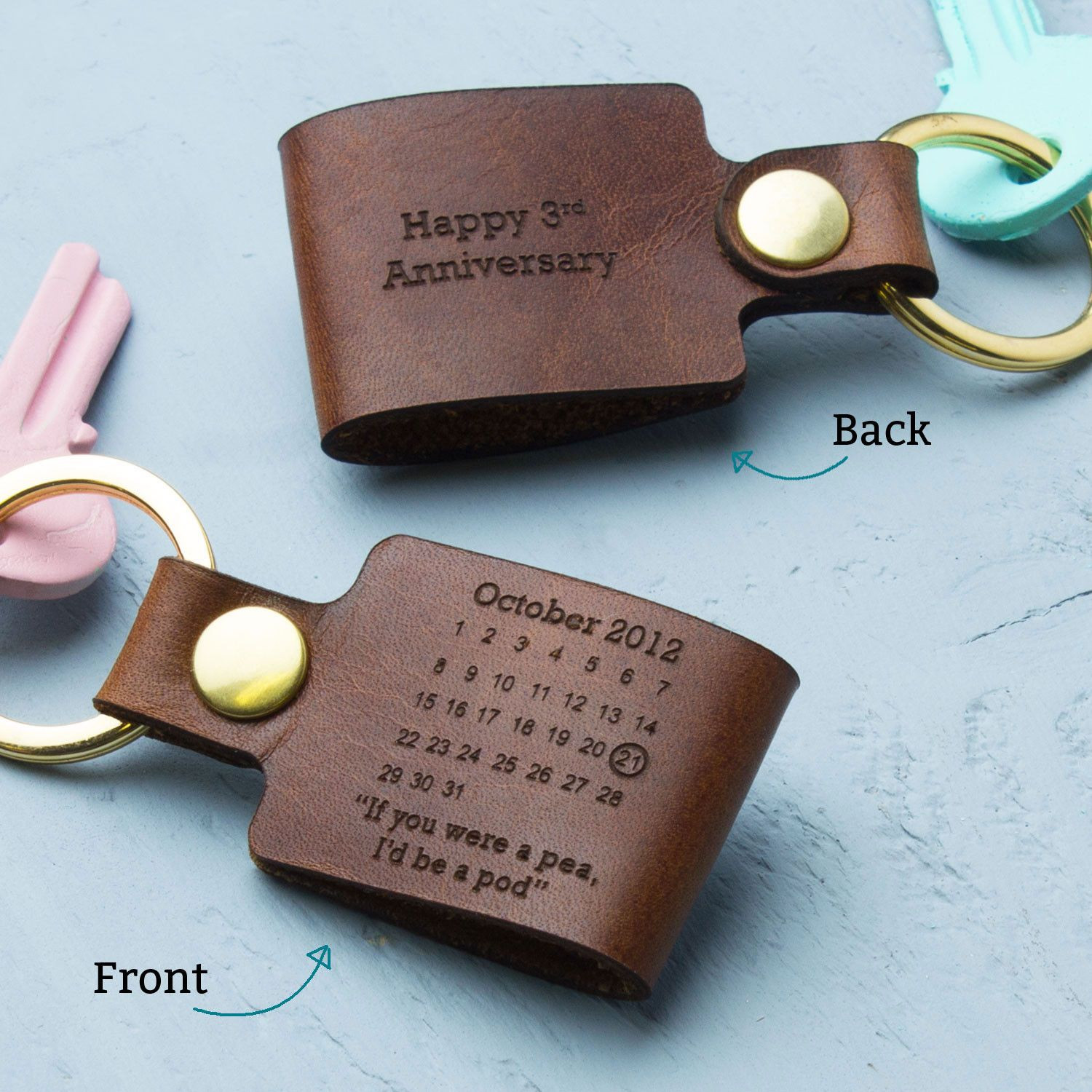 3 Year Anniversary Gift Ideas For Husband  Personalised Third Wedding Anniversary Leather Keyring