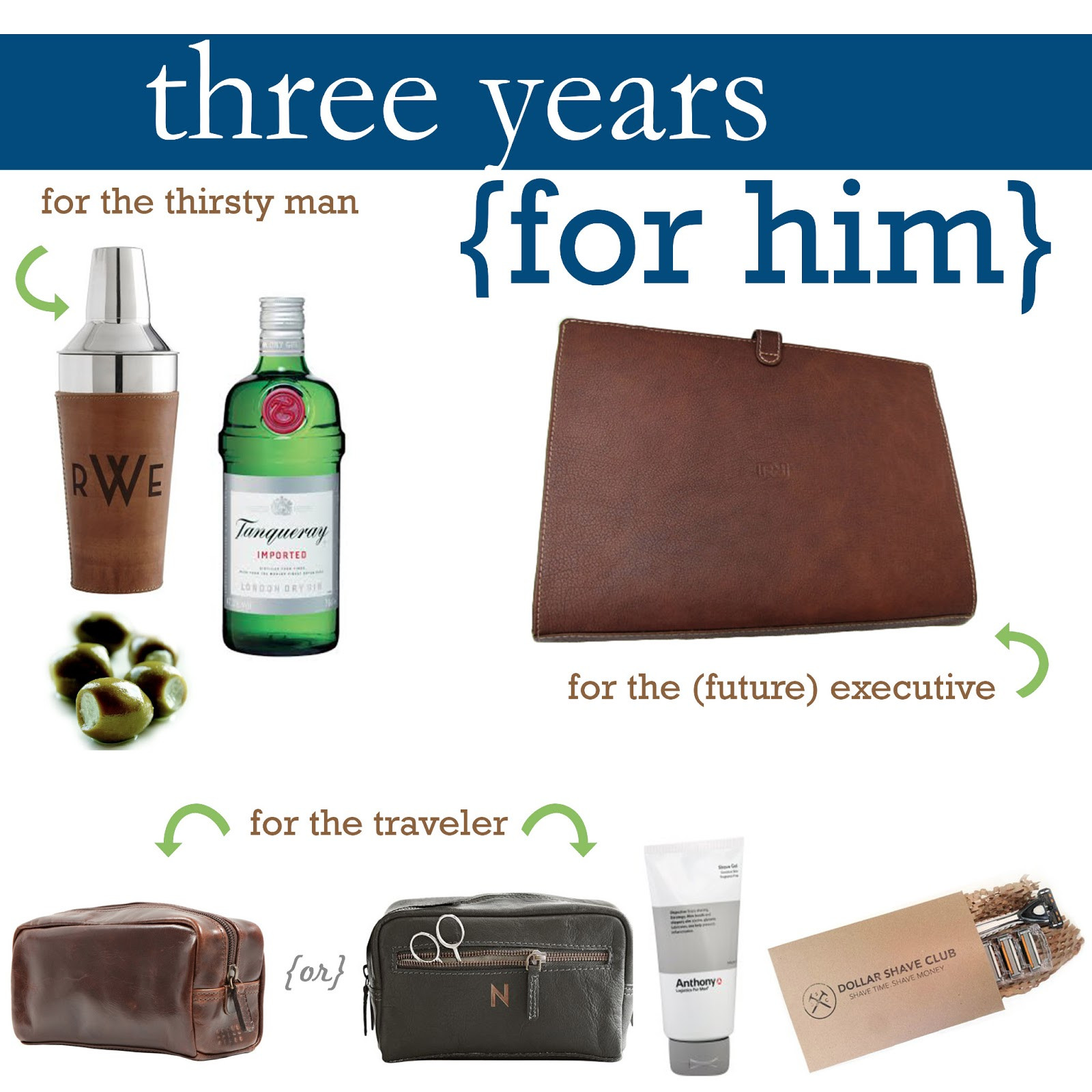 3 Year Anniversary Gift Ideas For Husband  Just f Square Leather Gift Guide Three Year Anniversary