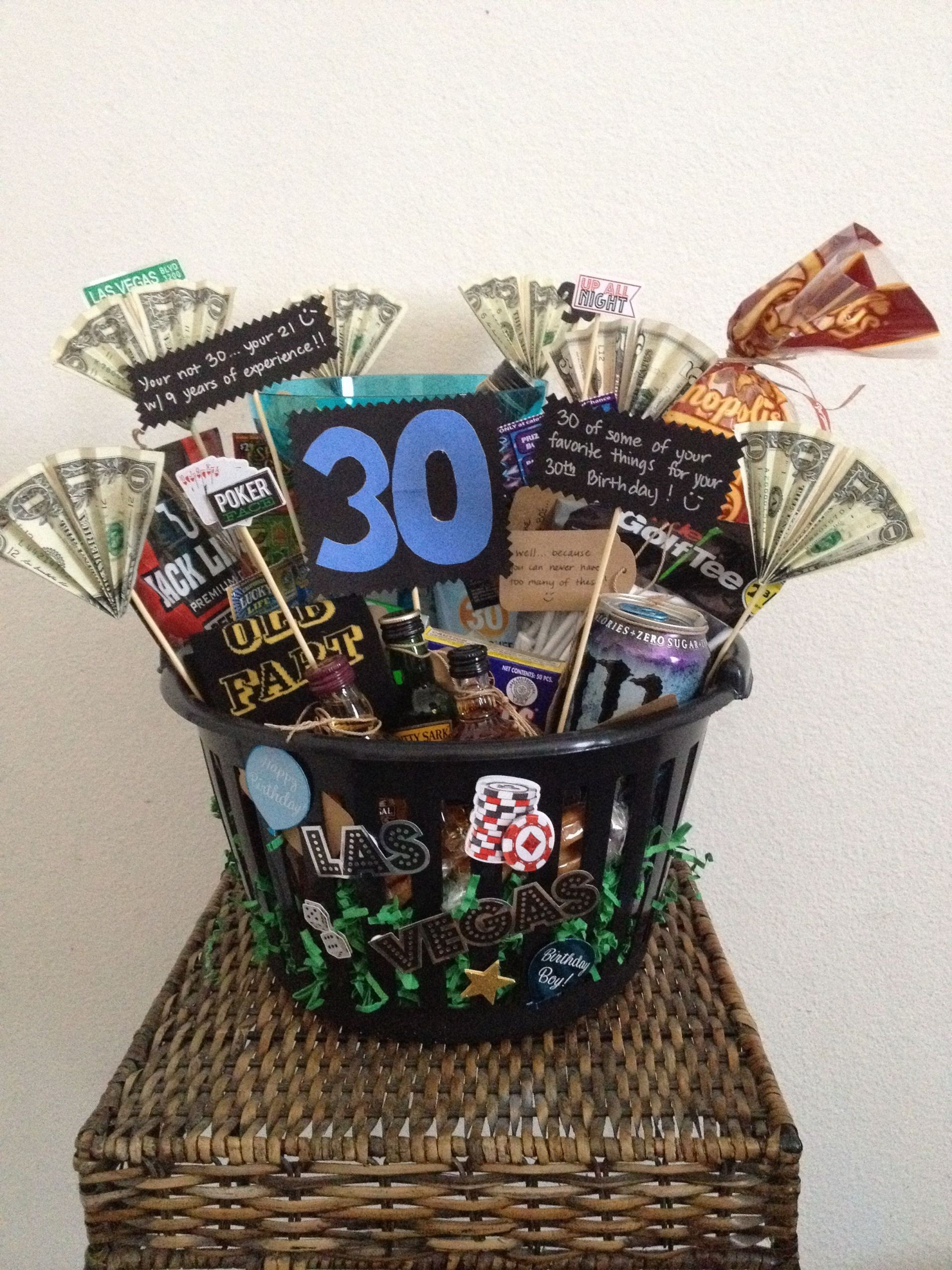 30Th Birthday Gift Ideas For Him  30th Birthday Basket for a man Made this for my husband
