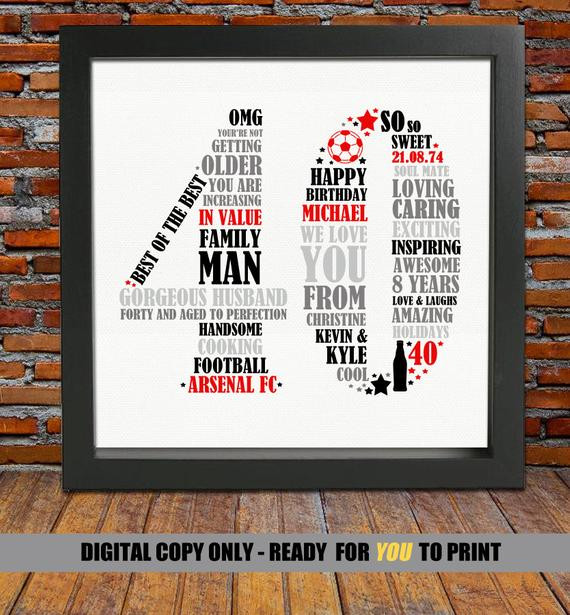 40Th Birthday Gift Ideas For Him  Personalized 40th Birthday Gift for Him 40th birthday 40th