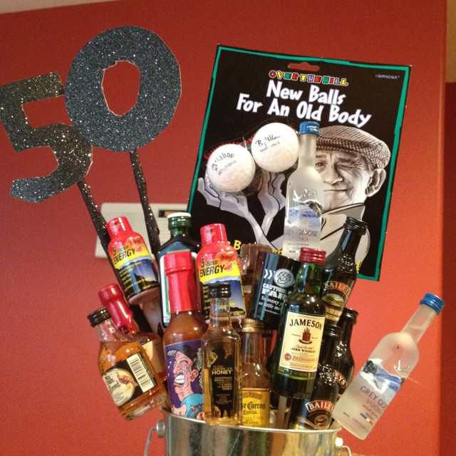 50Th Birthday Gift Ideas Men  50th Birthday Gift basket for Men Party ideas