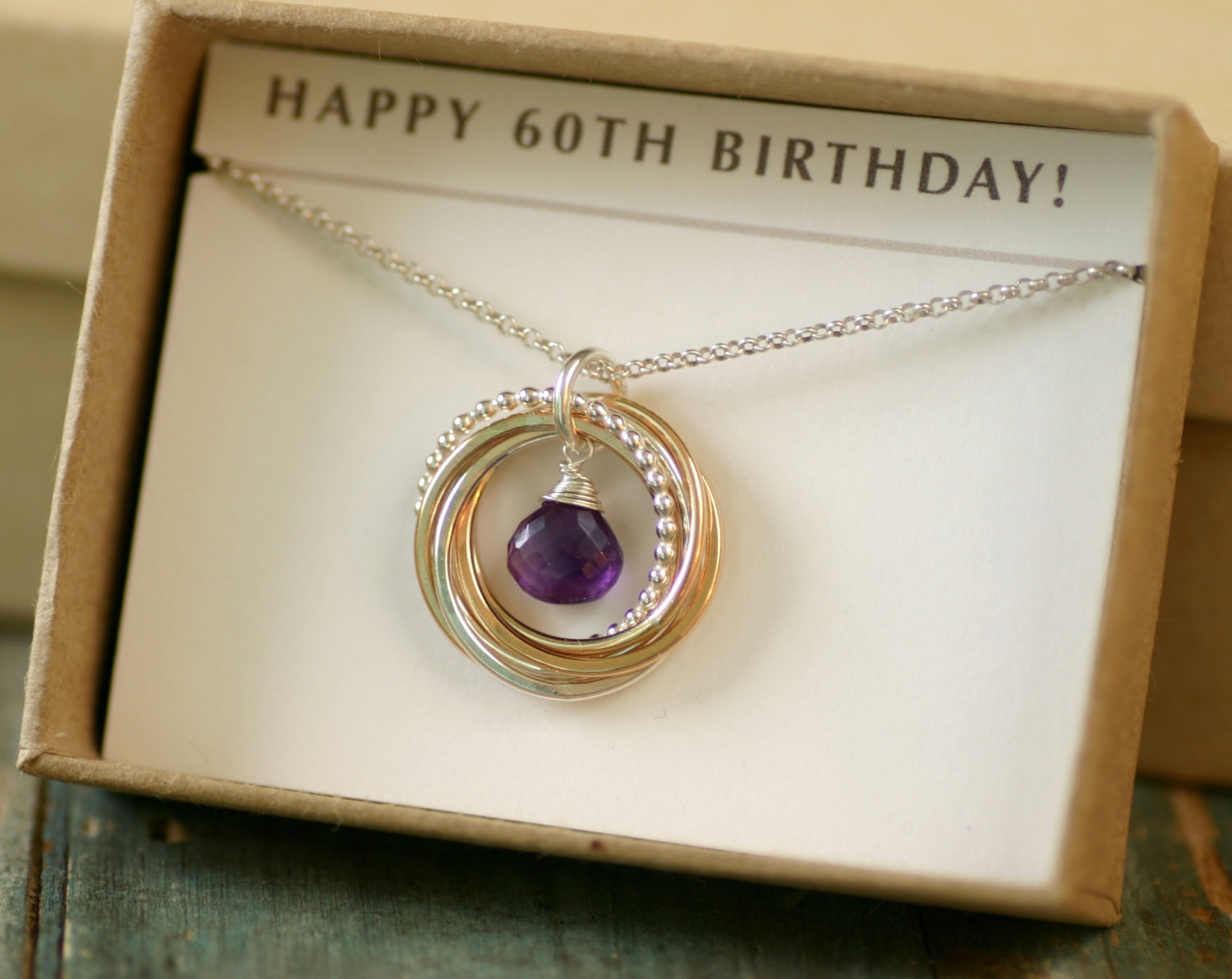 60Th Birthday Gift Ideas For Her  60th birthday t for her amethyst necklace for women