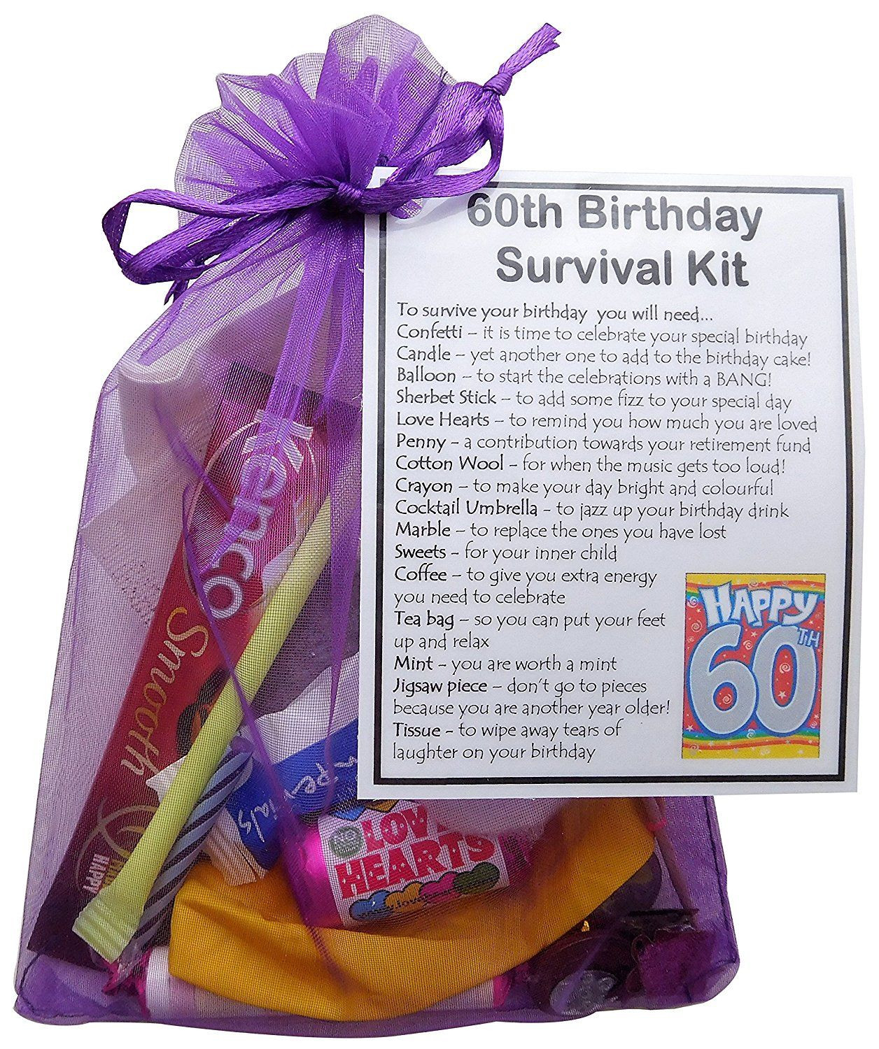 60Th Birthday Gift Ideas For Her  60th Birthday Gift Unique Novelty survival kit 60th