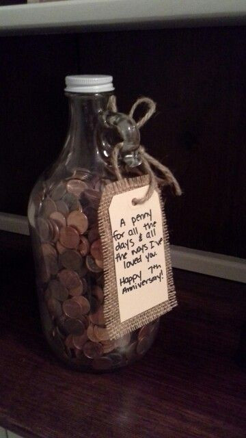 7Th Anniversary Gift Ideas  7th Wedding anniversary t with pennies