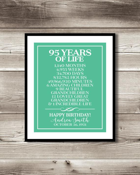 95Th Birthday Gift Ideas  95th Birthday print birthday t digital print 95 years