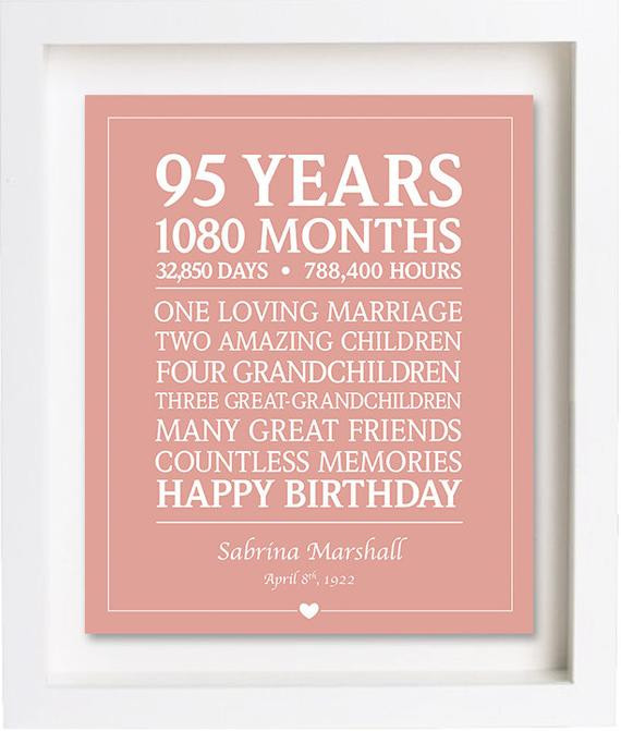 95Th Birthday Gift Ideas  95th Birthday Gift Downloadable Personalized Birthday