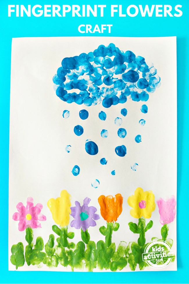 April Crafts For Toddlers  April Showers Bring May Fingerprint Flowers Craft