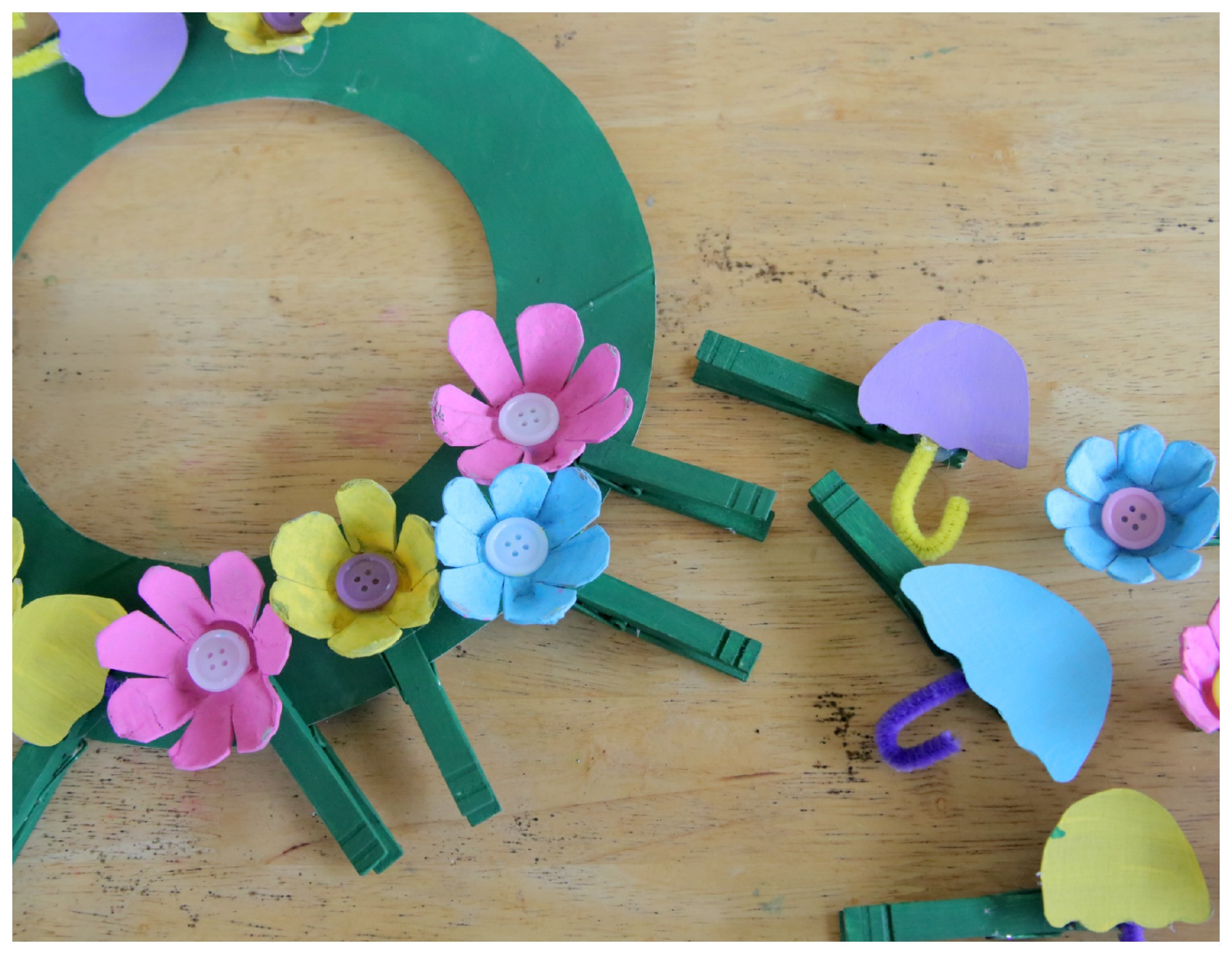 April Crafts For Toddlers  Recycled Craft April Showers Bring May Flowers Clothespin
