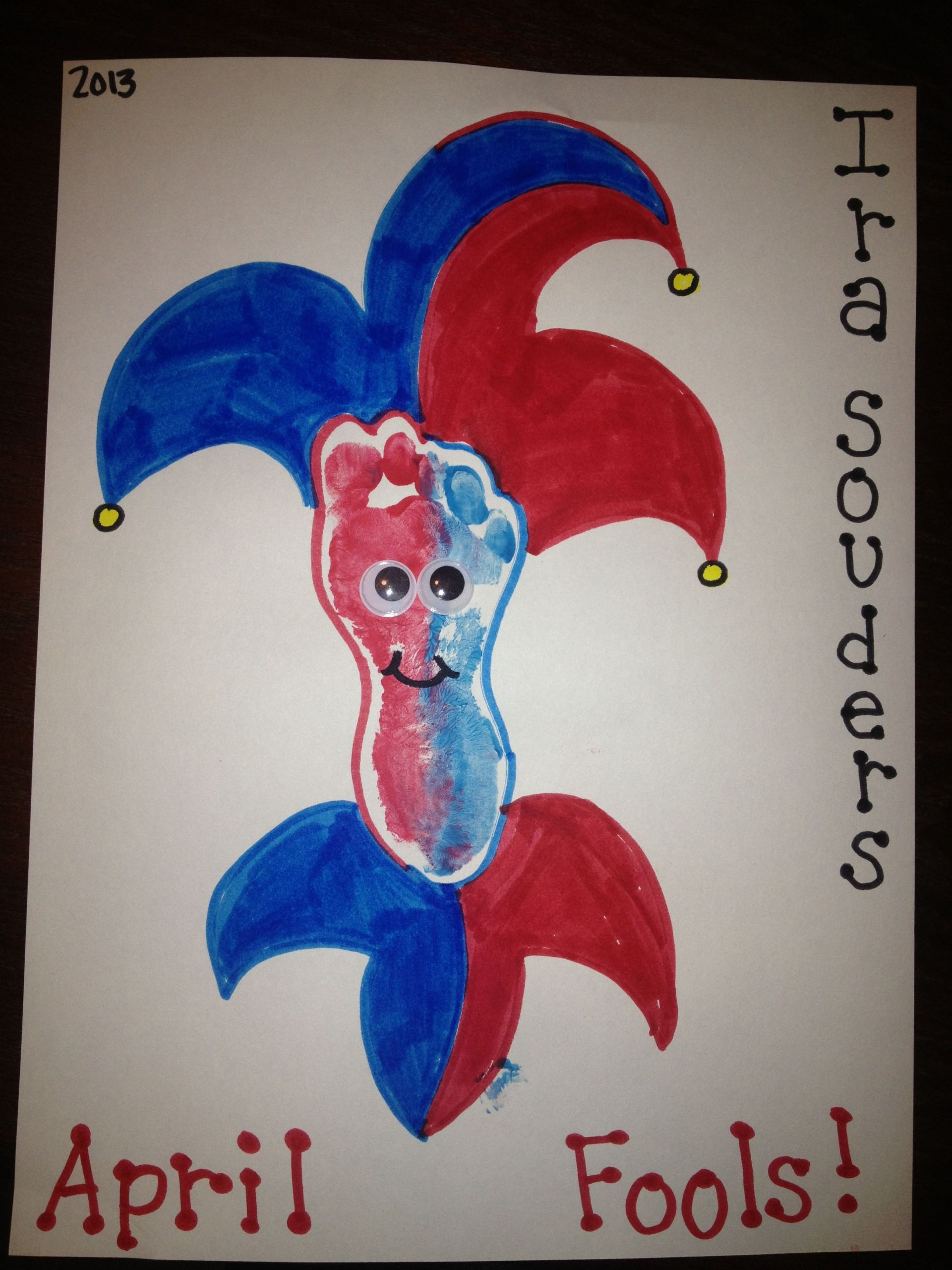 April Crafts For Toddlers  April fools jester baby art footprints