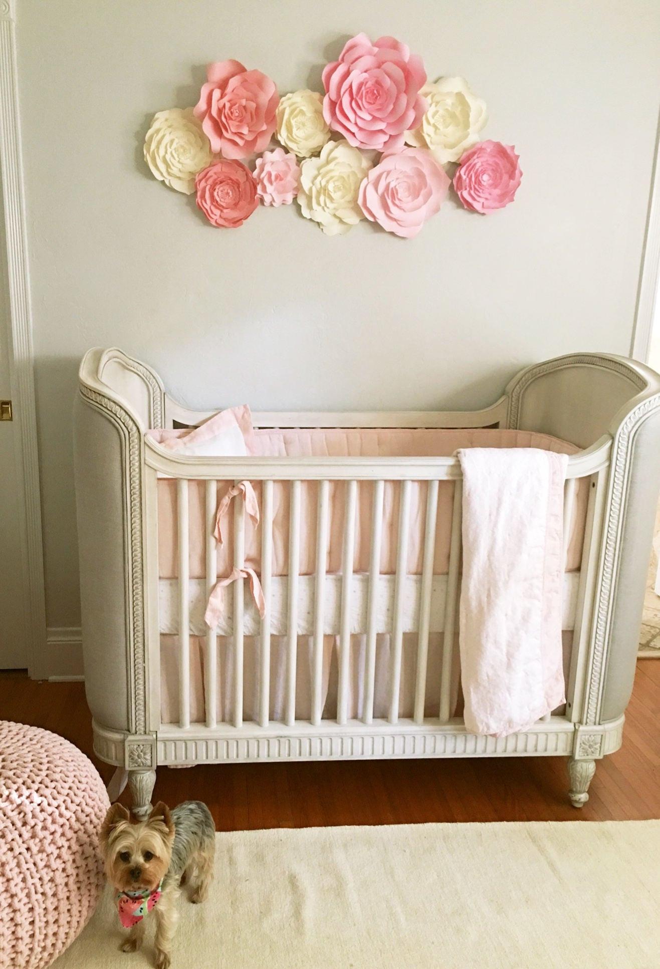Baby Girl Room Decoration  Baby nursery wall decor paper flowers for girls nursery