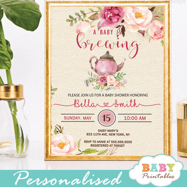 Baby Shower Invitations Tea Party  Pink Roses Vintage Tea Party Baby Shower Invitations