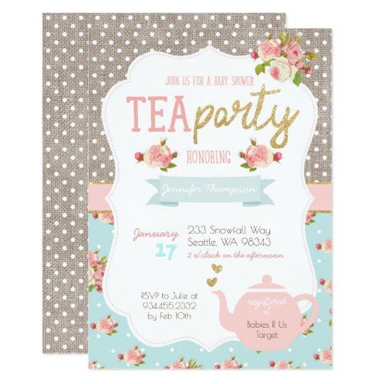 Baby Shower Invitations Tea Party  Tea Party Baby Shower Invitation