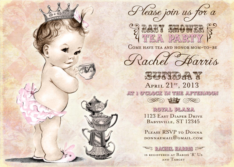 Baby Shower Invitations Tea Party  Tea Party Baby Shower Invitation For Girl Princess Crown