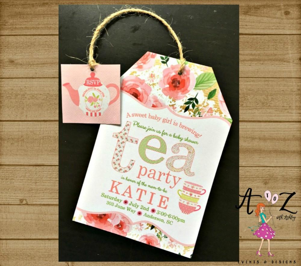 Baby Shower Invitations Tea Party  Tea Party Baby Shower Invitation Tea Bag Invitation Tea