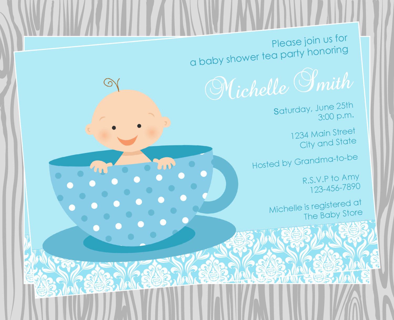 Baby Shower Invitations Tea Party  DIY Baby Boy Tea Party Baby Shower Invitation Coordinating