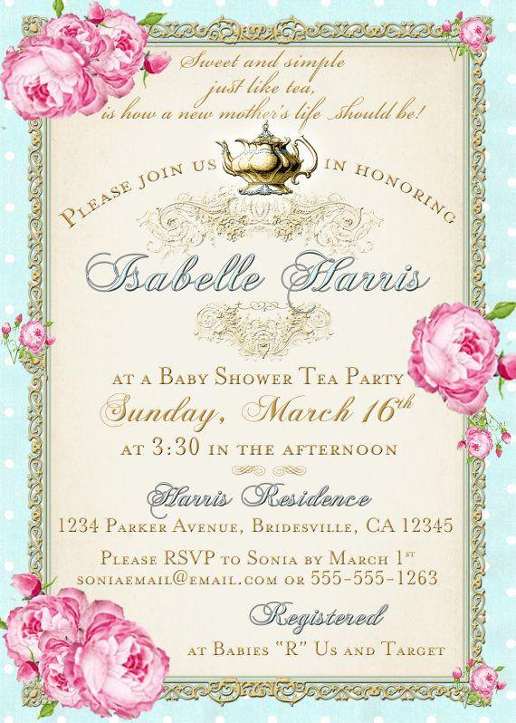 Baby Shower Invitations Tea Party  Tea Party Baby Shower Tea Party Invitation Floral by