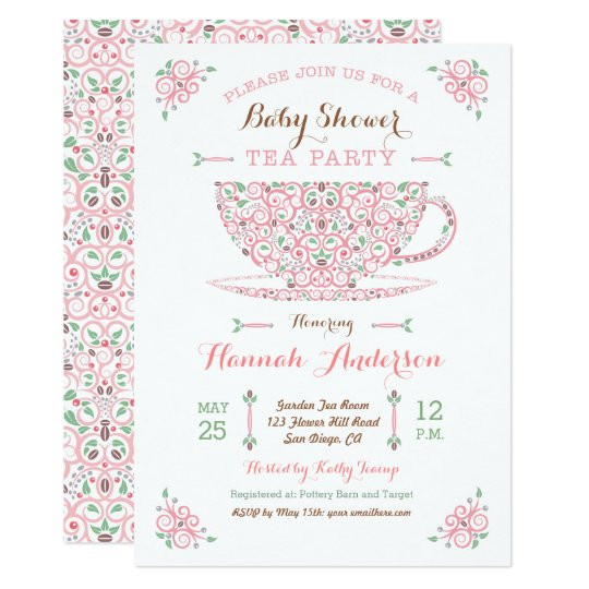 Baby Shower Invitations Tea Party  Baby Shower Tea Party Baby Girl II Invitation