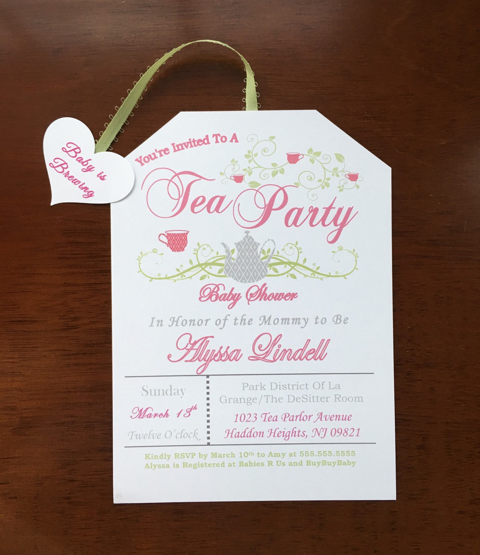 Baby Shower Invitations Tea Party  Digital Self Print Tea Party Baby Shower Invitations A baby