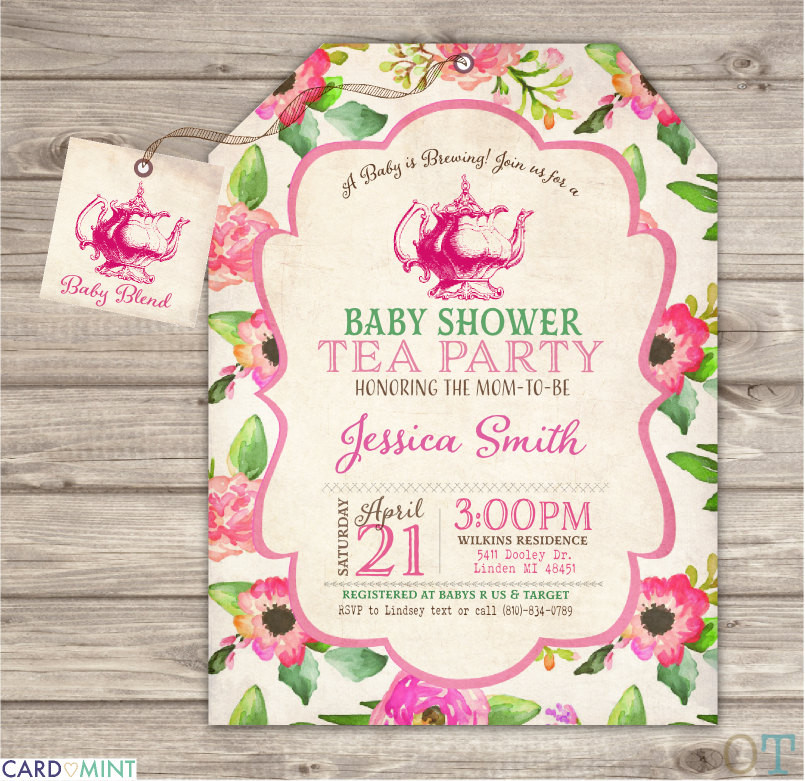 Baby Shower Invitations Tea Party  baby Shower Tea party Invitation a Baby is brewing Flowers Tea