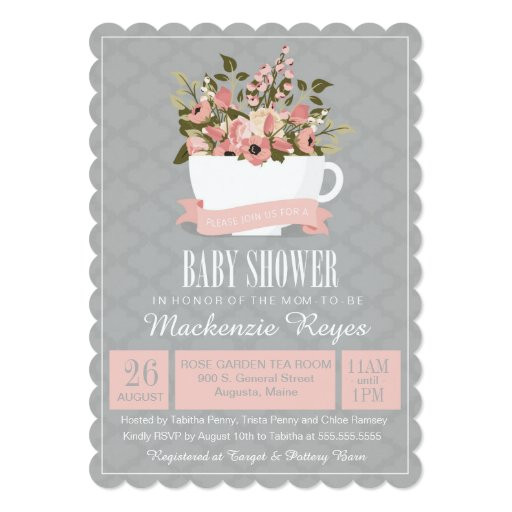 Baby Shower Invitations Tea Party  Floral Teacup Baby Shower Invitation Tea Party Card