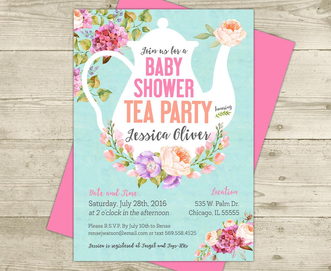 Baby Shower Invitations Tea Party  Tea Party Baby Shower Invitation Floral Shabby Girl Baby