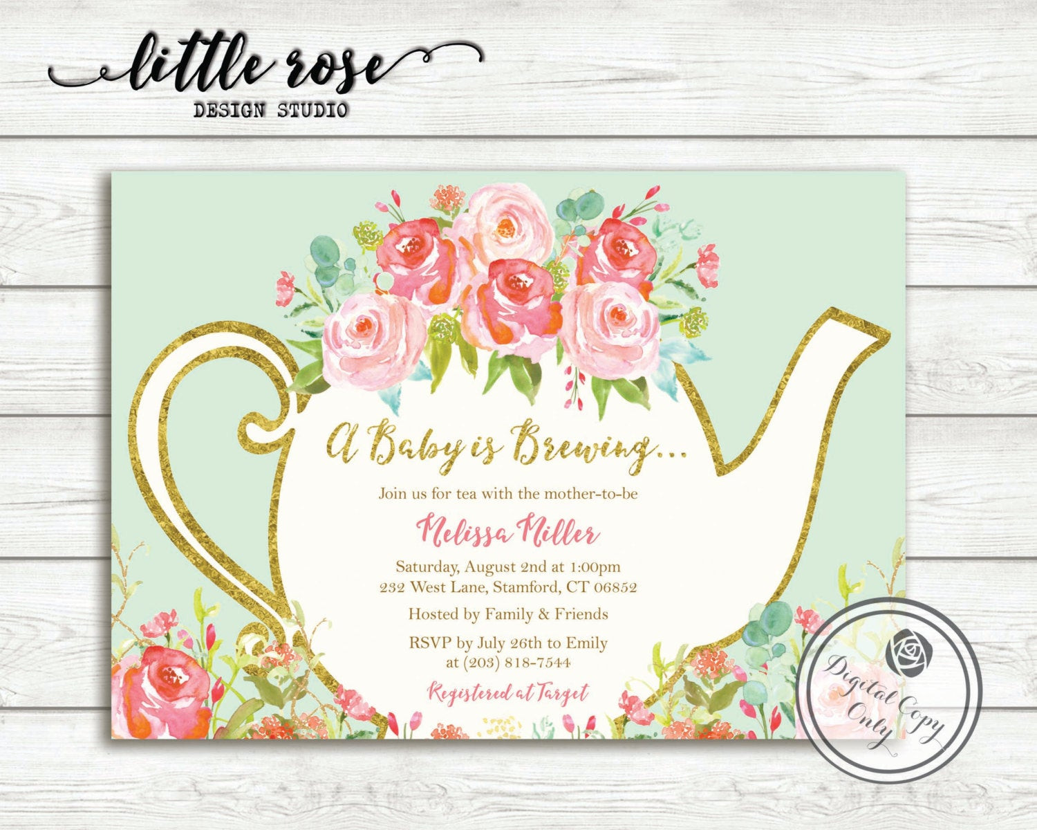 Baby Shower Invitations Tea Party  A Baby is Brewing Baby Shower Tea Party Invitation Garden