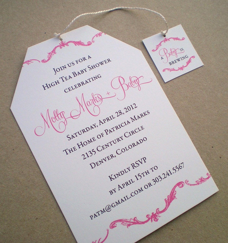 Baby Shower Invitations Tea Party  High Tea Baby Shower Invitation Girl