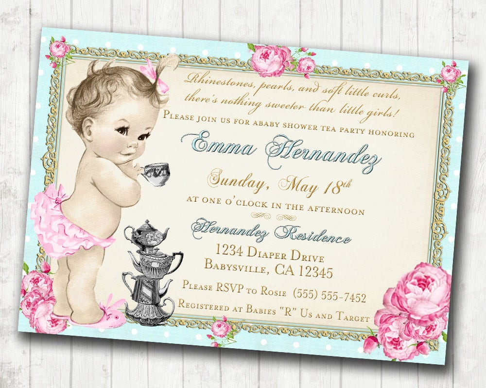 Baby Shower Invitations Tea Party  Baby Shower Tea Party Invitation Shabby Chic Floral Vintage