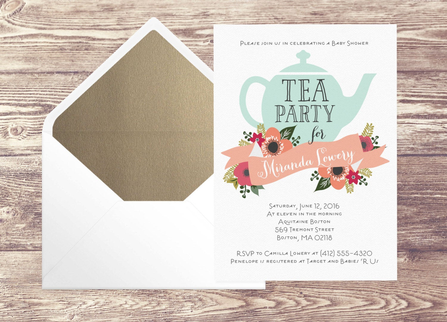 Baby Shower Invitations Tea Party  Printed Baby Shower Tea Party Invitation with Gold Envelope