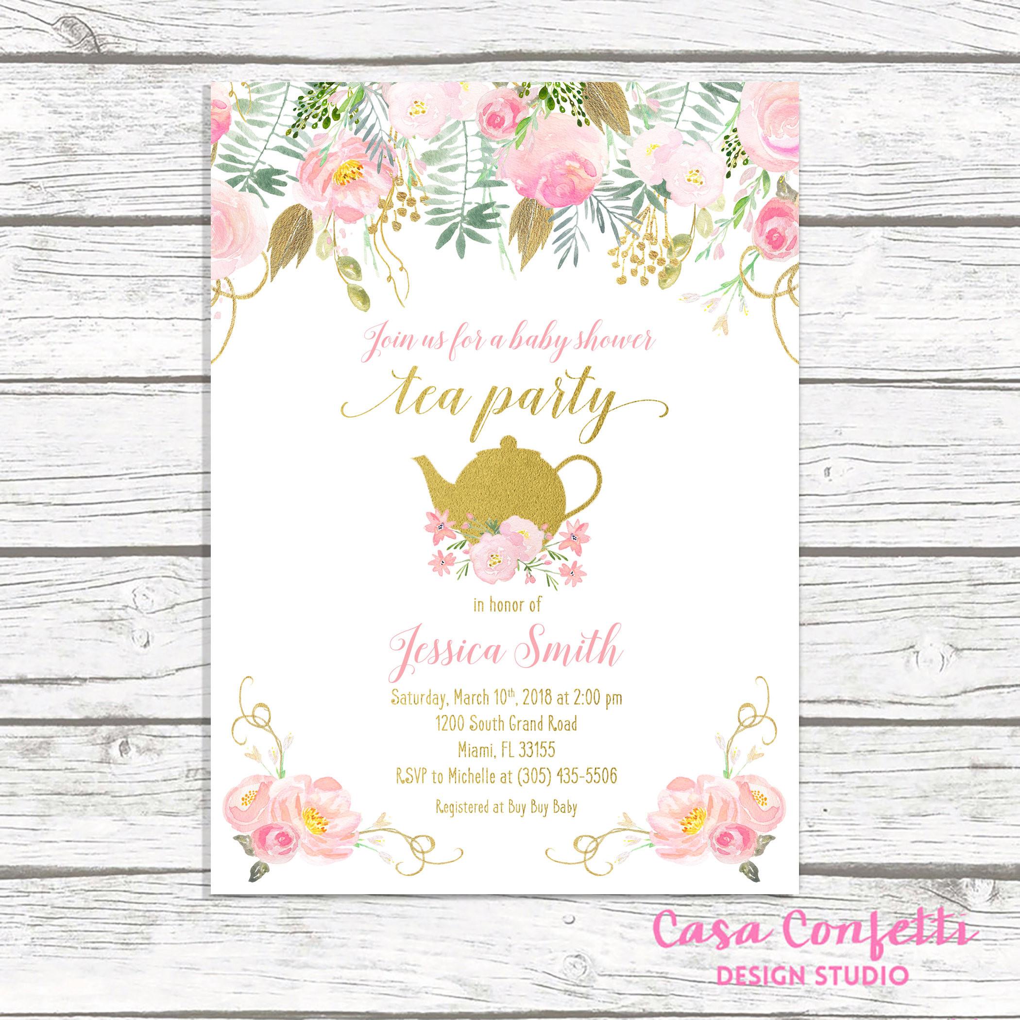 Baby Shower Invitations Tea Party  Tea Party Baby Shower Invitation Tea Party Invitation