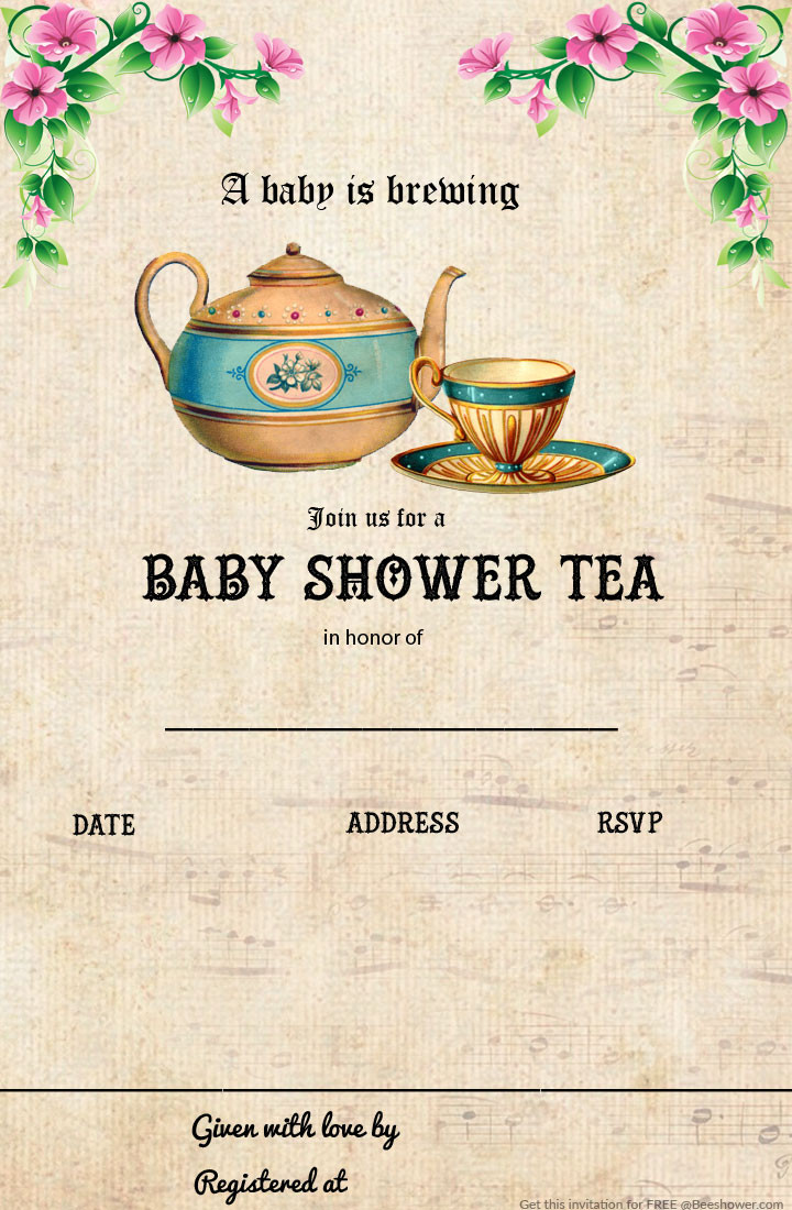 Baby Shower Invitations Tea Party  Free Printable Tea Party Baby Shower Invitation Template