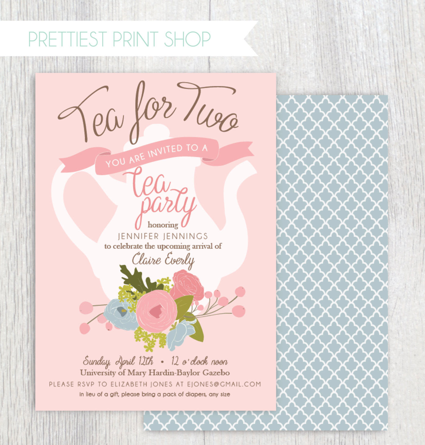 Baby Shower Invitations Tea Party  Printable tea party baby shower invitation Tea pot Floral