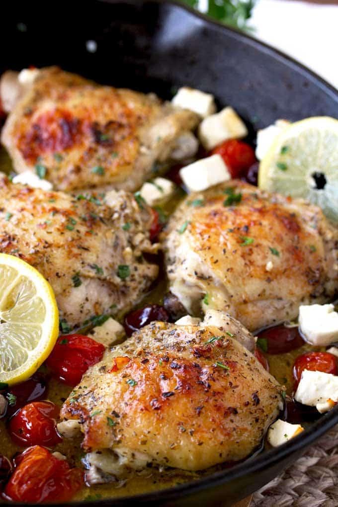 Baked Greek Chicken Recipe  Greek Lemon Oven Roasted Chicken Thighs The Salty