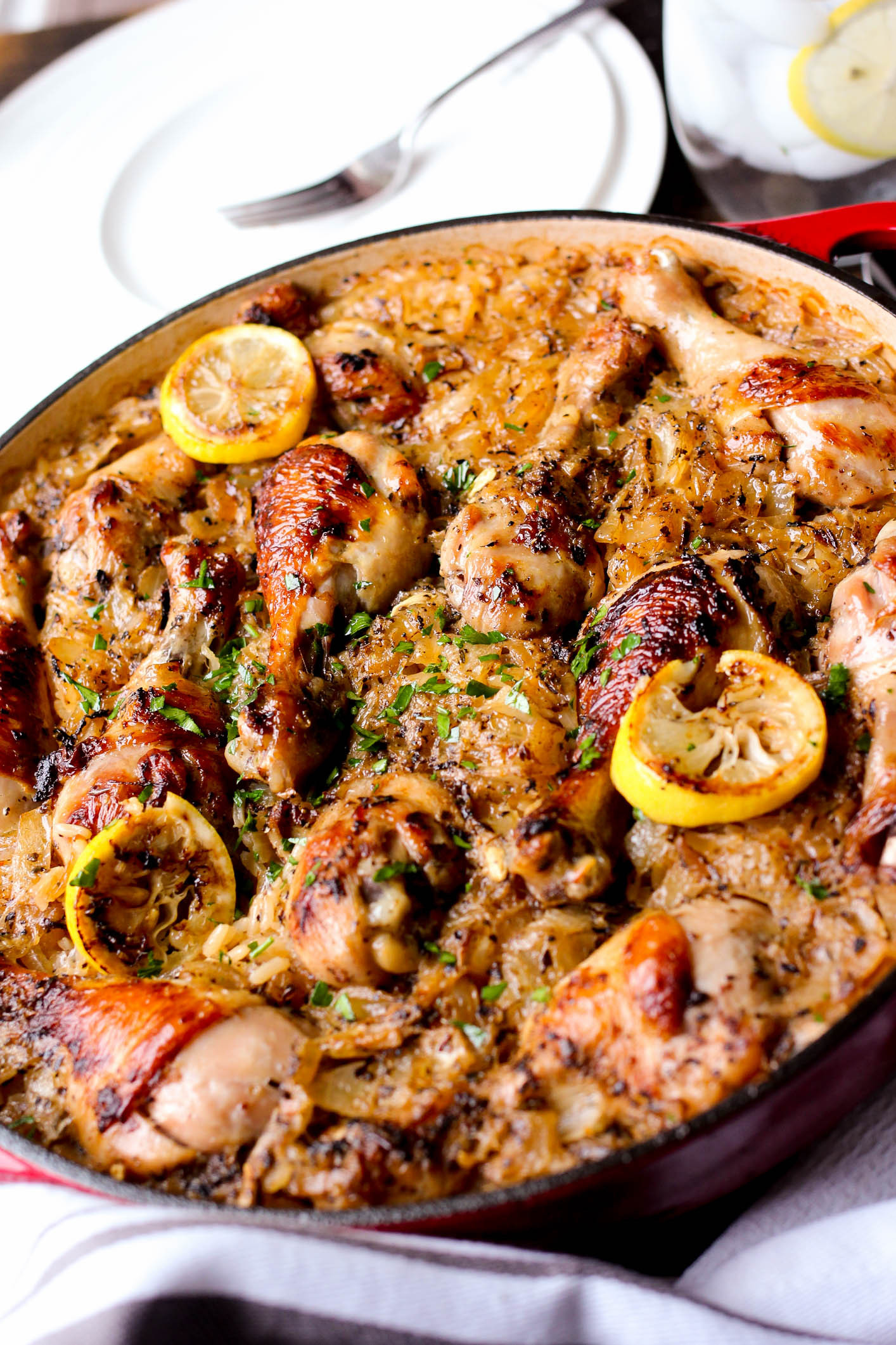 Baked Greek Chicken Recipe  e Pot Roasted Greek Chicken and Rice Girl and the Kitchen