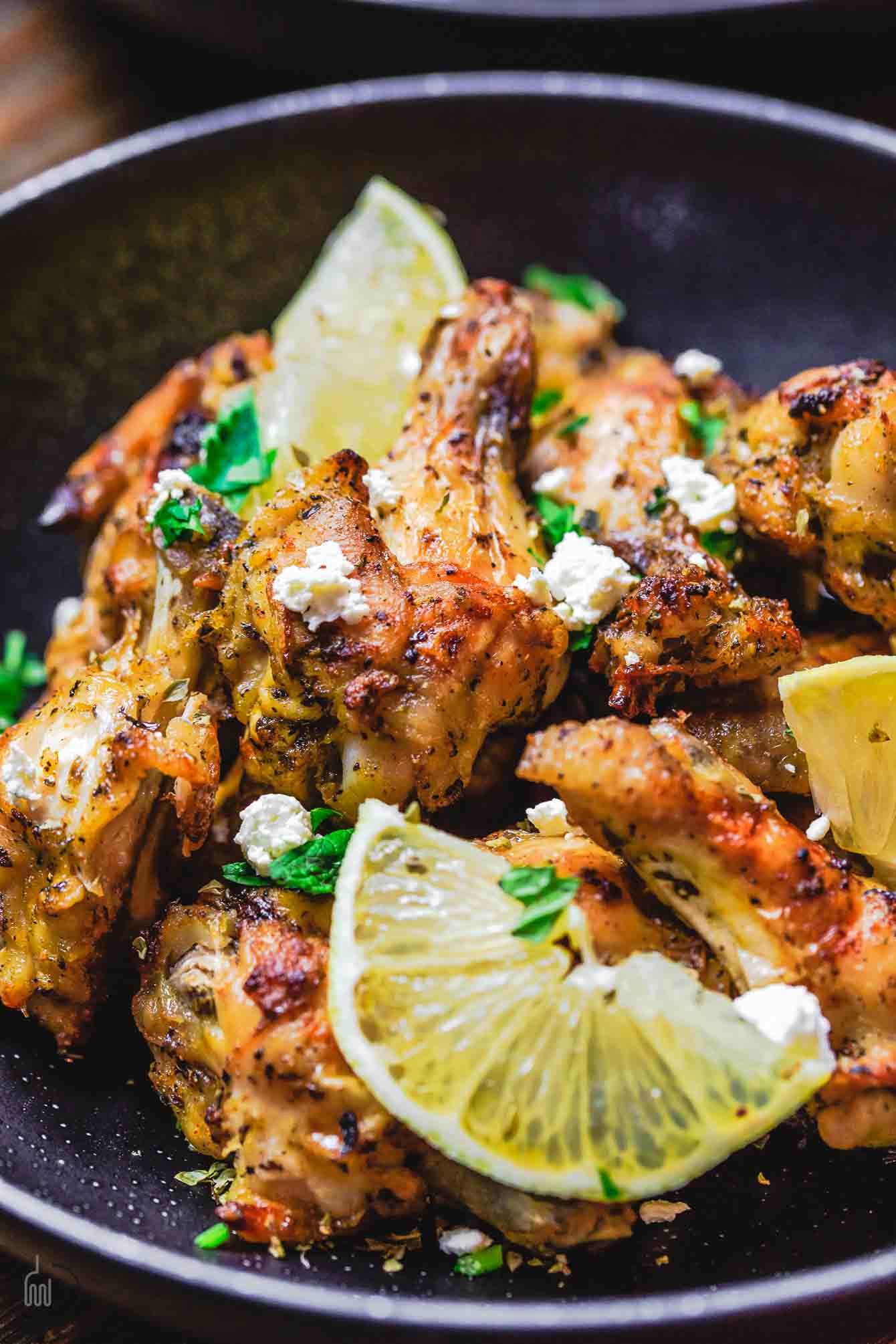 Baked Greek Chicken Recipe  Greek Baked Chicken Wings Recipe with Tzatziki Sauce